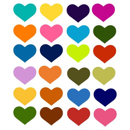 Color heart, a set of vector illustrations on white 矢量图像
