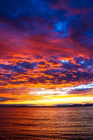 sky cloud cloudscape  sea  sunset  landscape  ocean. Stock Photo