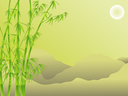 tranquil landscape with bamboo thickets on the background of the mountains Vector