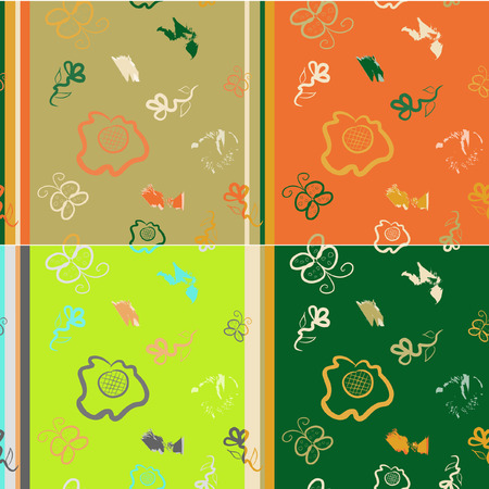 seamless pattern imitation of children's drawings of flowers and butterflies, in four colors Stock Vector - 4948439