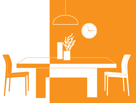 dining room: Vector image of a modern dining room in white and orange colors