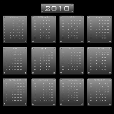 Vector illustration of the calendar 2010  in the form of metal plates Vector