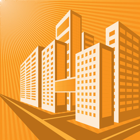 Street of the city in orange tones on the background of the rising sun. Vector Graphics Vector