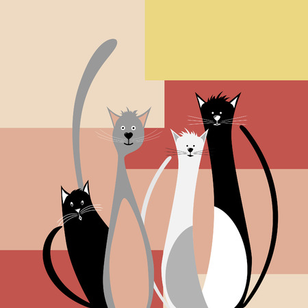 Four funny cats on abstract geometric background Vector
