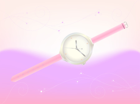 timekeeper: illustration of elegant womens wristwatches in platinum with a pink thong