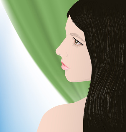 thoughtfulness: beautiful brunette girl on a background of green curtains