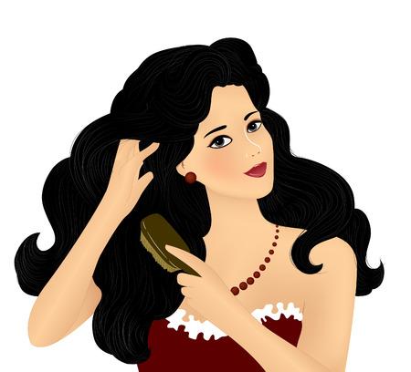 hermosa joven cepillado su pelo, ilustración vectorial