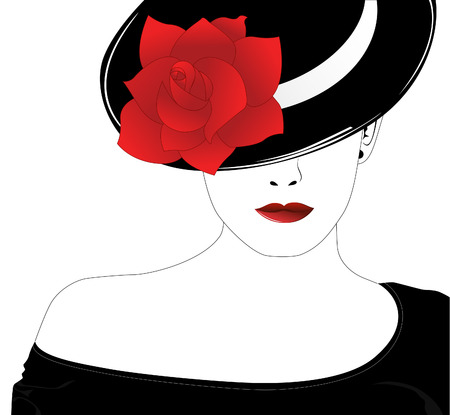 Vector silhouette of beautiful woman in a black hat with red rose Vector