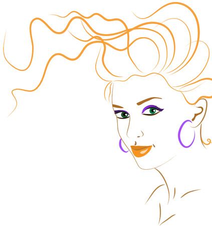 nude woman: abstract portrait of a beautiful woman in the orange colors. vector illustration
