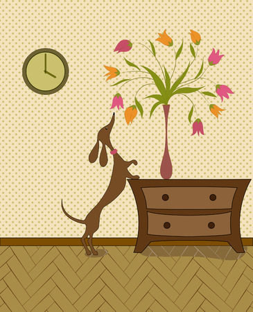 bedside: curious dog trying to get a flower, standing in a vase on the bedside table