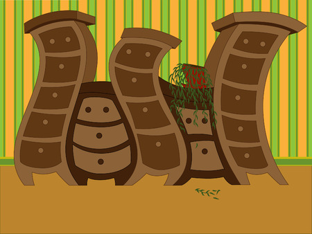 vector illustration of a funny curved furniture, against the background of striped wallpaper Vector