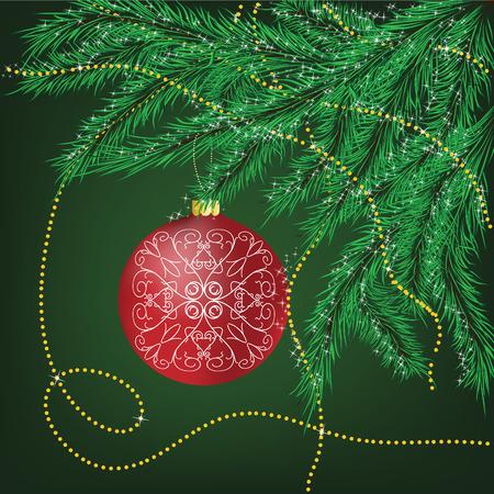 red sphere: I rami di pelliccia-albero decorato con sfera rossa