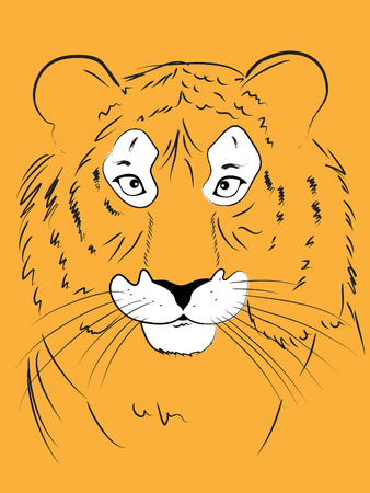vector illustration of the head of a tiger, a stylized hand-drawing Stock Vector - 6000740