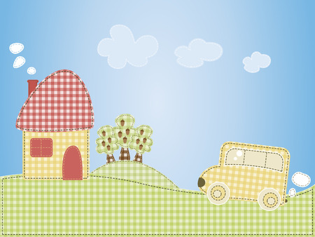 Cartoon houses and the car on a pattern of cell background. Vector