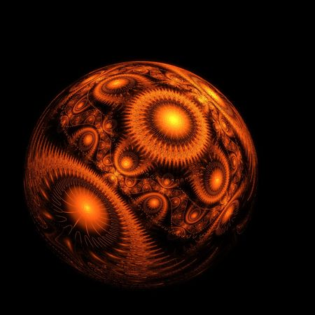 Abstract background. Patterned fractal sphere on a black background. Stock Photo - 6604278