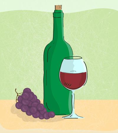 bocal: illustration of grape vine and bottle of wine Illustration