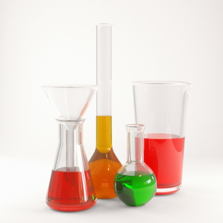 reagent: Chemical flasks with reagents 3d render Stock Photo