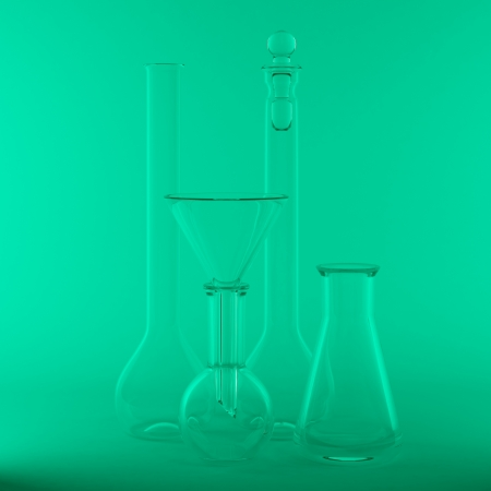 reagents: 3d rendering of the empty chemical flasks