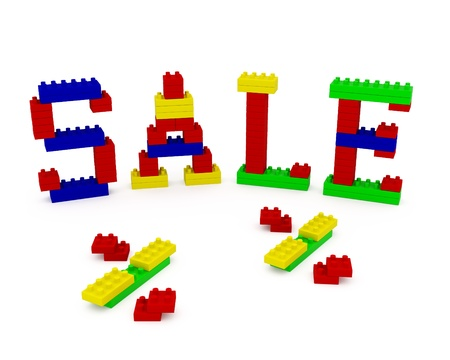 The word SALE, constructed from children photo