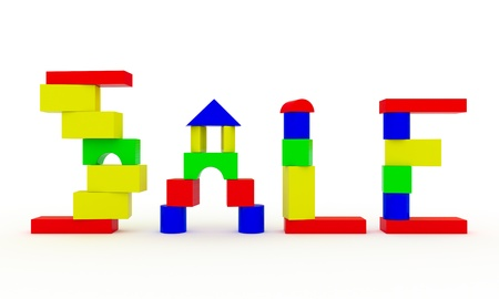 baby blocks: The word SALE, constructed from children