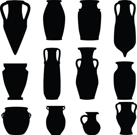 archeology: ceramics, archeology, silhouette Illustration