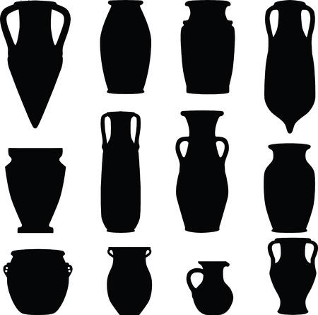 keramiek, Archeologie, silhouet  Vector Illustratie