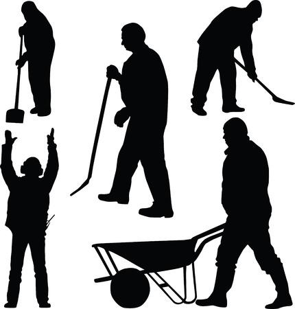 worker, silhouette Stock Vector - 6459292