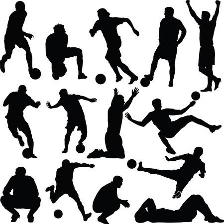 voetbal silhouet: voet bal, silhouet, voet bal Stock Illustratie