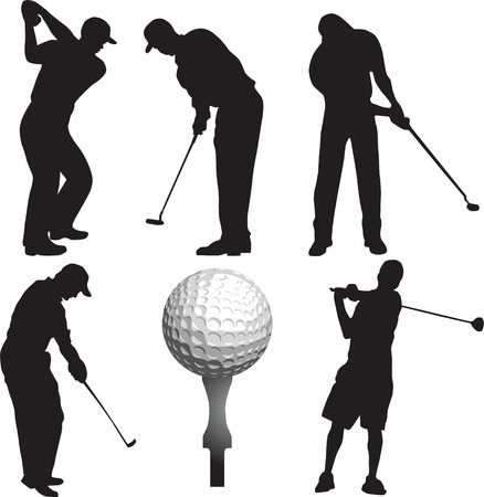 golfclub: golf club, silhouet