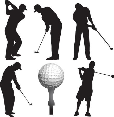 golf, club, silhouette Vector