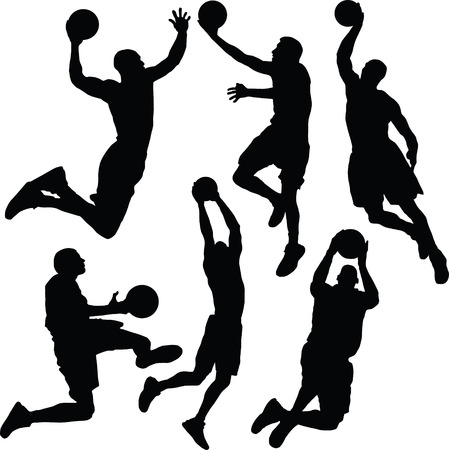 Basket bal, silhouet  Stock Illustratie