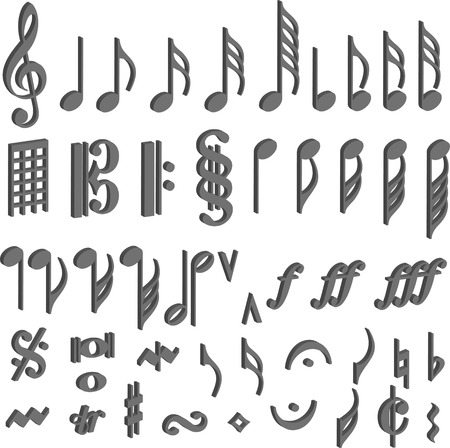 funky music: music symbol note 3d
