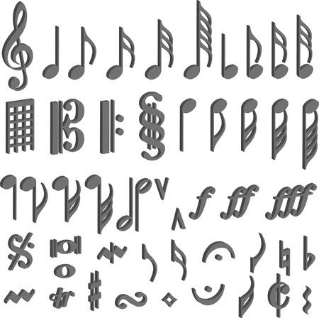 conceptual symbol: music symbol note 3d