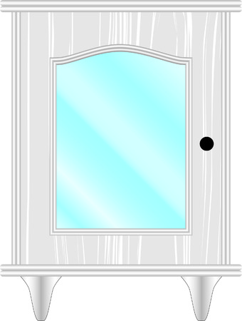 hinges: dresser, furniture, classic, white, glass Illustration