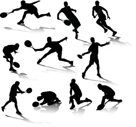 tennis, vector, silhouet