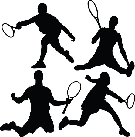 tennis serve: tennis silhouette Illustration
