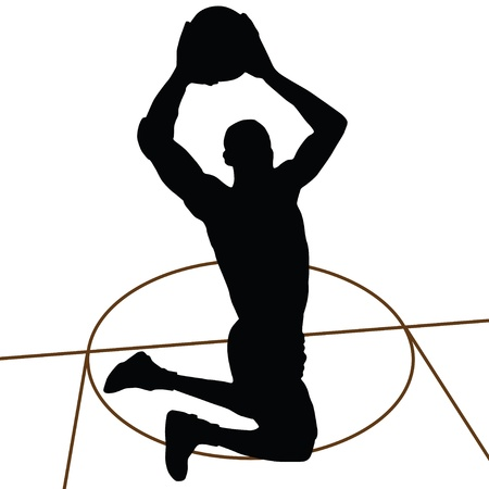 basketball shot: Basketball silhouette, jump Illustration
