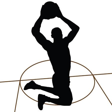 panier basketball: Silhouette de basket-ball, saut