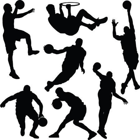 Basketbal acties silhouet