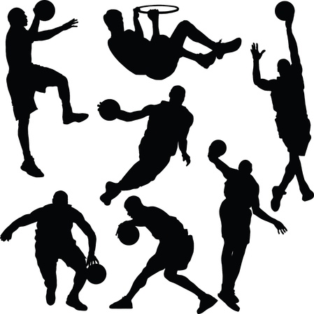 Basketball actions silhouette Vector
