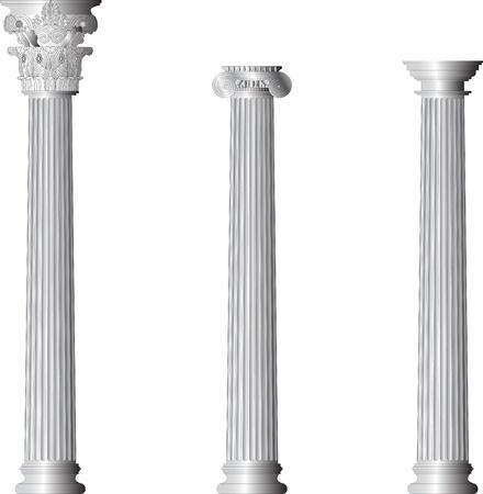 zuilen: Korinthische Ionische Dorische kolommen Stock Illustratie