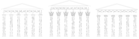 parthenon: ionic doric corinthian capitol outline Illustration