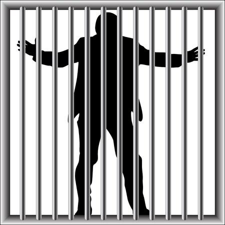 hombre en prisión Ilustración de vector