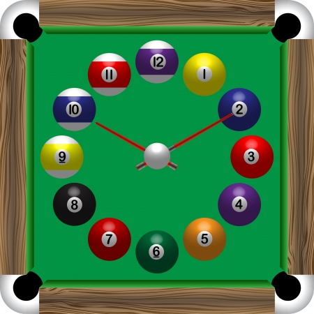 pool cue: billiard table clock Illustration