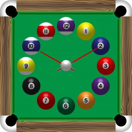 bola de billar: reloj de mesa de billar Vectores