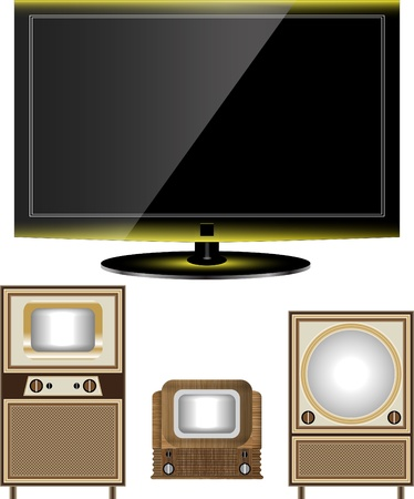 crt: tv old and new Illustration