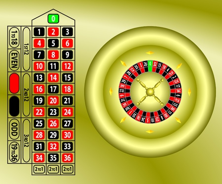 roulette table gold vector Vector