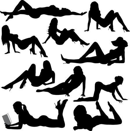 mujeres jovenes desnudas: mujer er�tica Vectores