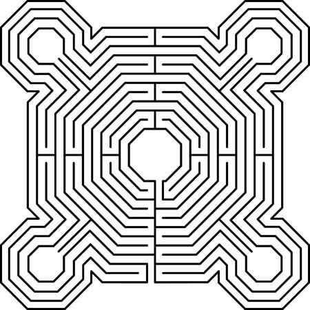 maze fortress white Vector