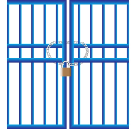 padlock on the gate Stock Vector - 10801481